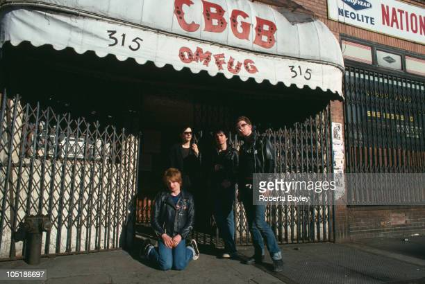 The Damned pose outside CBGB's club on the Bowery in New York in April 1977 LR Rat Scabies Dave Vanian Brian James Captain Sensible