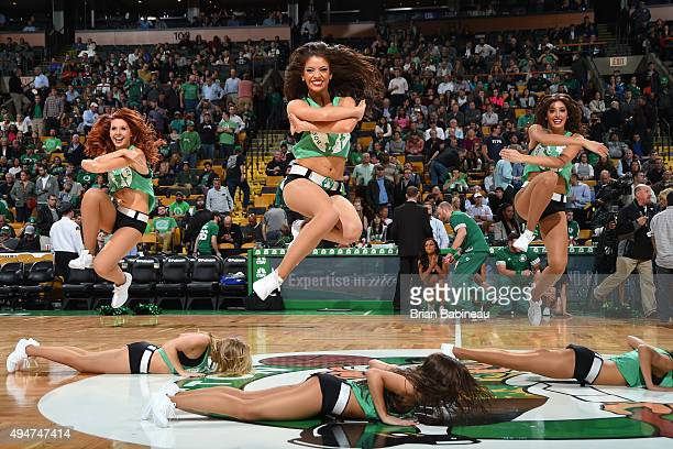 The dance team of the Boston Celtics entertains during the game against the Philadelphia 76ers on October 28 2015 at the TD Garden in Boston...