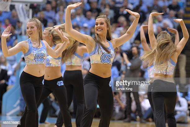 The dance team of the North Carolina Tar Heels performs during a game against the Georgia Tech Yellow Jackets at the Dean Smith Center on February 21...