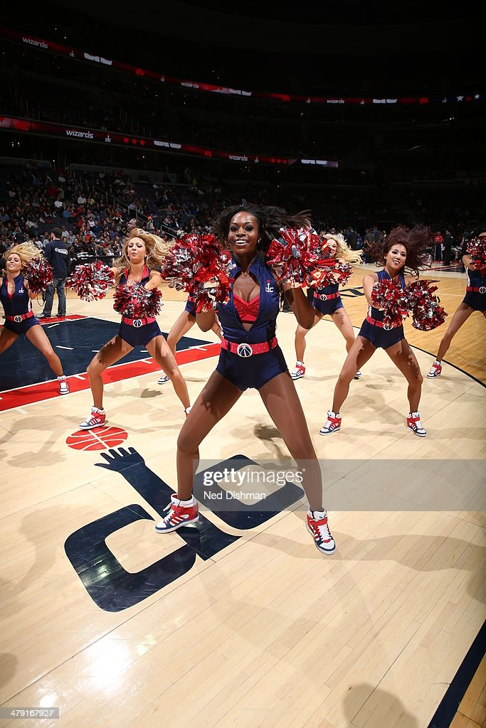 The dance team of the Washington Wizards perform on the court during the game against the Orlando Magic at the Verizon Center on February 25, 2014 in Washington, DC.