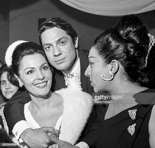 The dancer Antonio with actresses and singers Paquita Rico and Lola Flores at the christening of Lolita the daughter of Lola Flores Madrid Spain