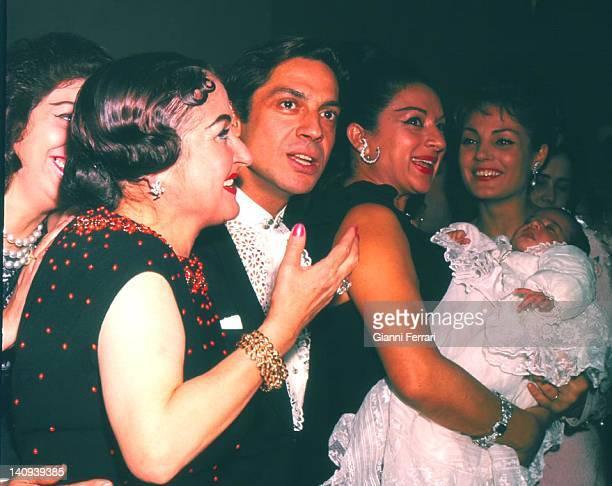 The dancer Antonio with Estrellita Castro Lola Flores and Carmen Sevilla at the christening of Rosario daughter of Lola Flores Madrid Spain