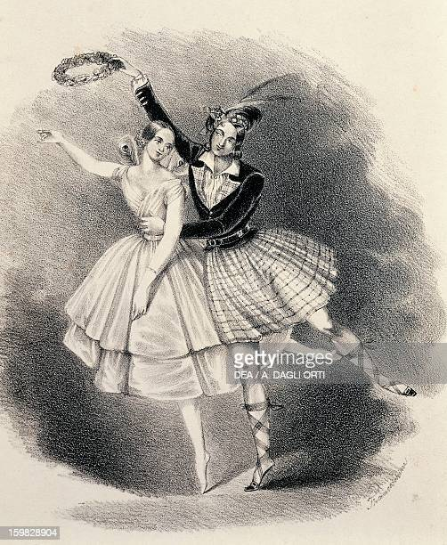 The dancer Fanny Cerrito and partner in the ballet La Sylphide Engraving 19th century Vienna Historisches Museum Der Stadt Wien