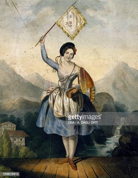 The dancer Fanny Essler in stage costume Watercolour print 19th century Vienna Historisches Museum Der Stadt Wien