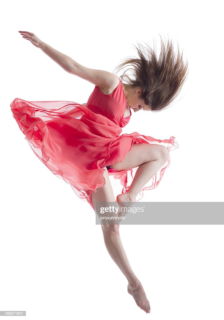 The dancer in midair isolated on white