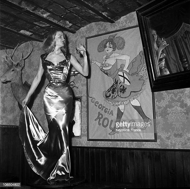 The Dancer Julia Rouge Standing In Front Of A Poster Depicting Her Grand Mother A Singer In Texas In 1880 And Proposing A Toast To Her On The Stage...