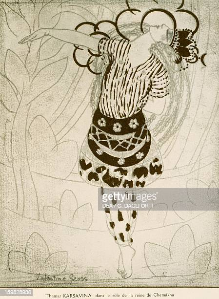 The dancer Tamara Karsavina playing the role of the Queen of Cemakha in The Golden Cockerel by Nikolai RimskyKorsakov Drawing June 1914 Paris...