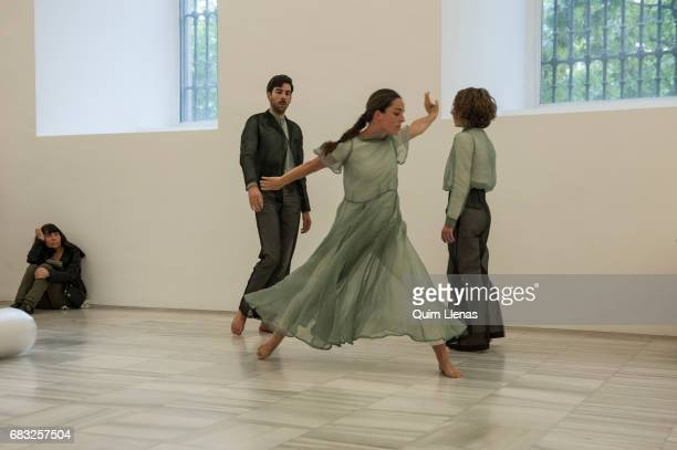 The dancers of the Basque company 'Kukai Dantza' perform during the performance of 'GernikaGuernica' a piece created especially for the 80th...