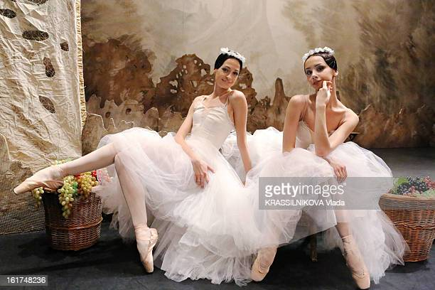 The dancers Vera and Oxana from the ballet Gisele on the stage of the Bolshoi theatre on February 5 2013 in MoscowRussia