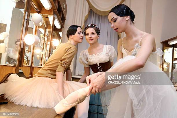 The dancers Vera Elizabetha and Oxana from the ballet Gisele in a dressing room at the Bolshoi theatre on February 5 2013 in MoscowRussia