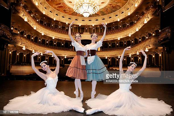 The dancers Vera Elizabetha and Oxana from the ballet Gisele on the stage of the Bolshoi theatre on February 5 2013 in MoscowRussia