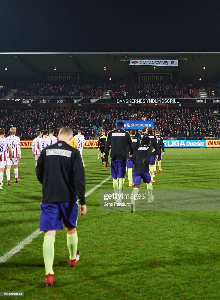 the Danish Alka Superliga match between AaB Aalborg and FC Midtjylland at Aalborg Portland Park on March 13, 2017 in Aalborg, Denmark.