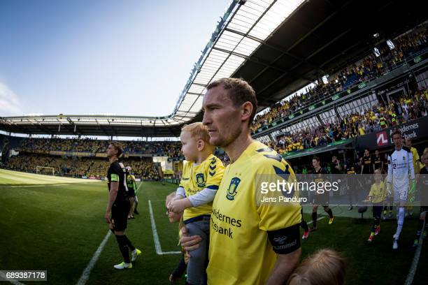 Thomas Kahlenberg of Brondby IF enters the pitch for his last match ever BRONDBY DENMARK MAY 28 the Danish Alka Superliga match between Brondby IF...