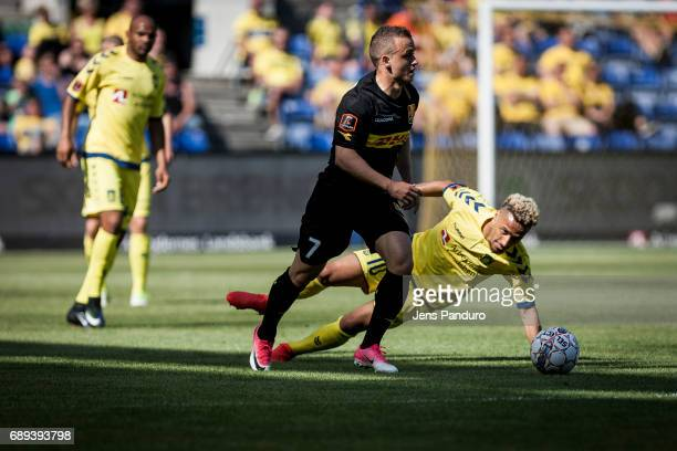 Hany Mukhtar of Brondby IF and Stanislav Lobotka of FC Nordsjalland in a duelBRONDBY DENMARK MAY 28 the Danish Alka Superliga match between Brondby...