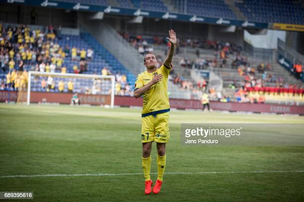 Thomas Kahlenberg of Brondby IF when leaving the pitch BRONDBY DENMARK MAY 28 the Danish Alka Superliga match between Brondby IF and FC Nordsjalland...