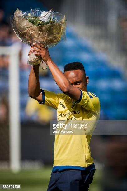 Lebogang Phiri of Brondby IFBRONDBY DENMARK MAY 28 the Danish Alka Superliga match between Brondby IF and FC Nordsjalland at Brondby Stadion on May...