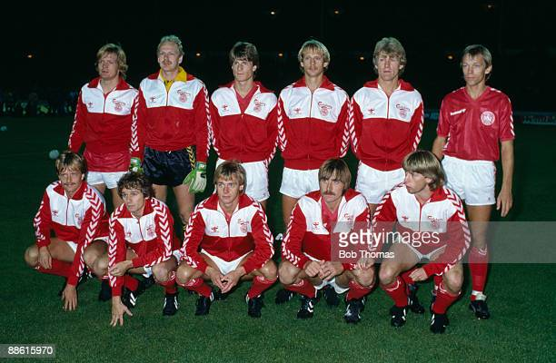 The Danish team prior to the European Championship Qualifying match against England at Wembley Stadium 21st September 1983 Denmark won 10 Back row...