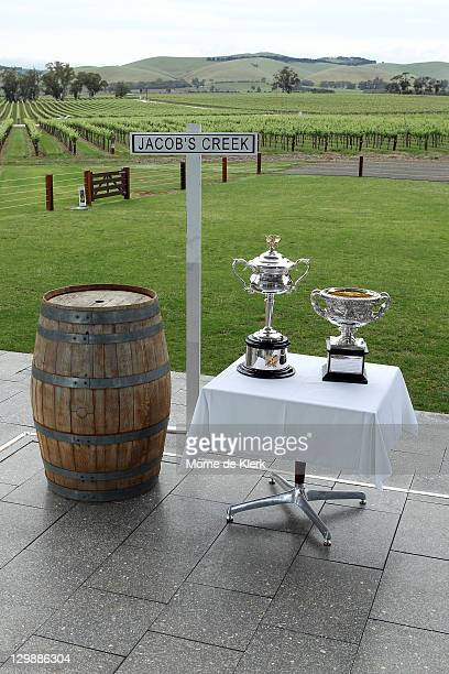 The Daphne Akhurst Memorial Cup and the Norman Brookes Challenge Cup at the Jacobs Creek visitor centre during the The Australian Open Trophies tour...