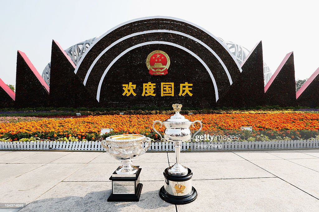 The Daphne Akhurst Memorial Cup (R) and the Norman Brookes Challenge Cup are pictured during the The Australian Open Trophies Tour at outside the Bird's Nest on October 19, 2012 in Beijing, China.