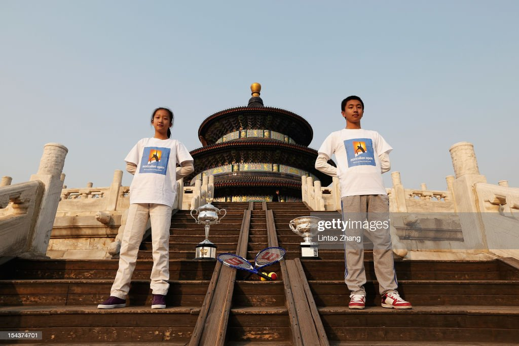 The Daphne Akhurst Memorial Cup (L) and the Norman Brookes Challenge Cup are pictured during the The Australian Open Trophies Tour at The Temple of Heaven (The Qi Nian Temple) on October 19, 2012 in Beijing, China.