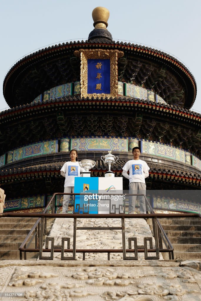 The Daphne Akhurst Memorial Cup (R) and the Norman Brookes Challenge Cup are pictured during the The Australian Open Trophies Tour at The Temple of Heaven (The Qi Nian Temple) on October 19, 2012 in Beijing, China.