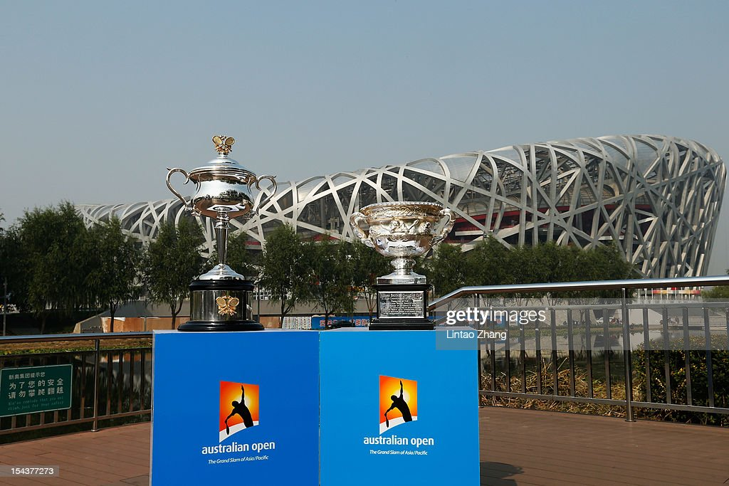 The Daphne Akhurst Memorial Cup (L) (women's trophy) and the Norman Brookes Challenge Cup (men's trophy) are pictured during the The Australian Open Trophies Tour at outside the Bird's Nest on October 19, 2012 in Beijing, China.