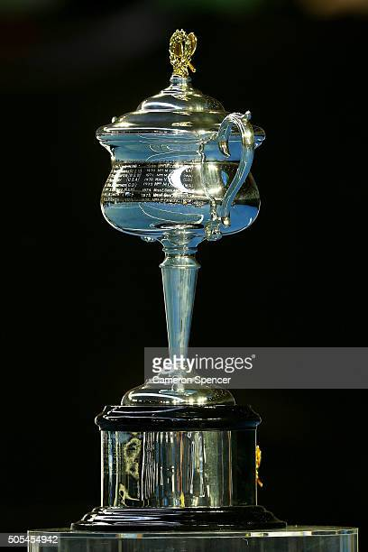 The Daphne Akhurst Trophy is on display during day one of the 2016 Australian Open at Melbourne Park on January 18 2016 in Melbourne Australia
