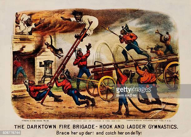 The Darktown Fire Brigade Hook and Ladder Gymnastics Print by Currier Ives