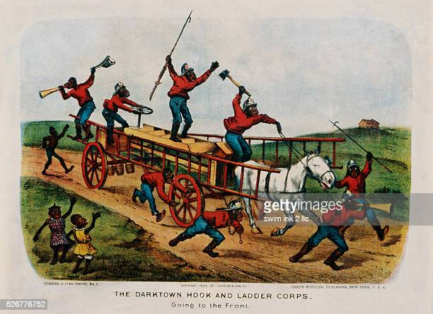 The Darktown Hook and Ladder Corps Print by Currier Ives