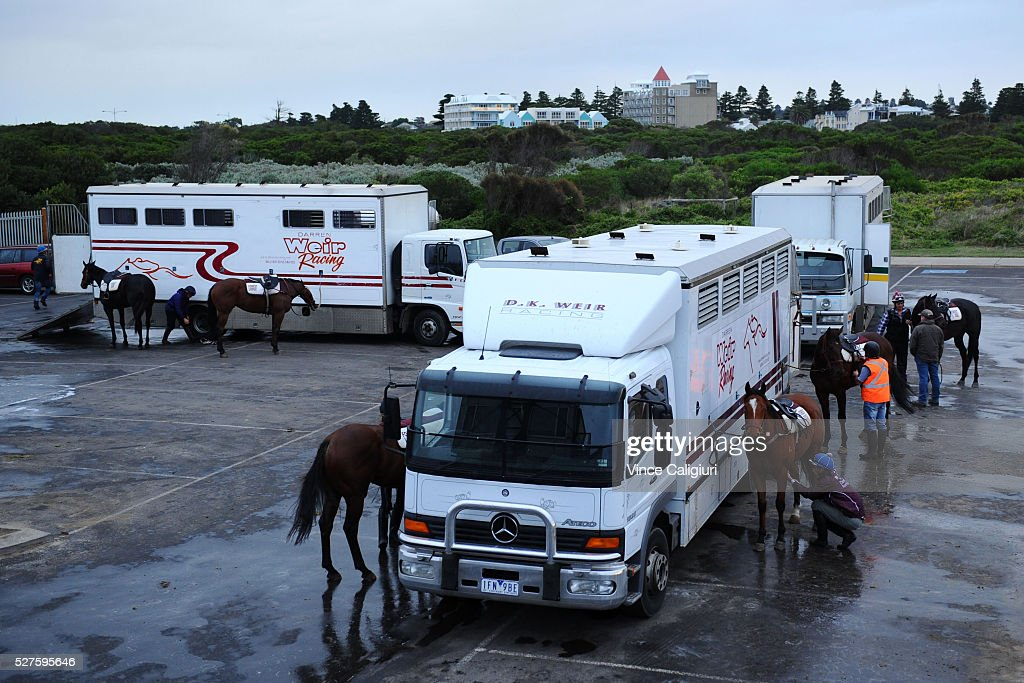 The Darren Weir horse floats are seen at trackwork at Lady Bay beach ahead of the Warrnambool Racing Carnival on May 03, 2016 in Warrnambool, Victoria. Riders gallop the horses up and down the foreshore before cooling the horses in the ocean.