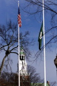 The Dartmouth College flag flies at half staff for faculty members Half and Susanne Zantop who were killed in their home just a few miles from the...