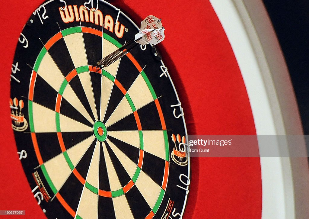 The darts of Englands Martin Atkins in the board on day one of the BDO Lakeside World Professional Darts Championships at Lakeside Complex on January...