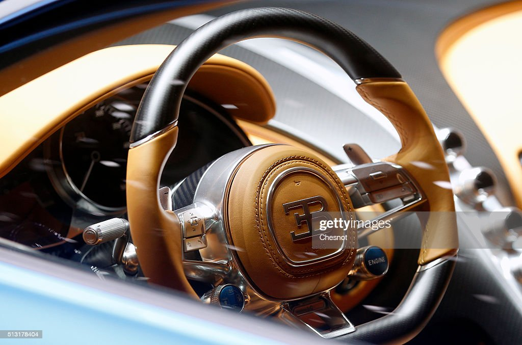 The dashboard of a Bugatti Chiron model is displayed during the press day of the 86th Geneva International Motor Show on March 1 2016 in Geneva...