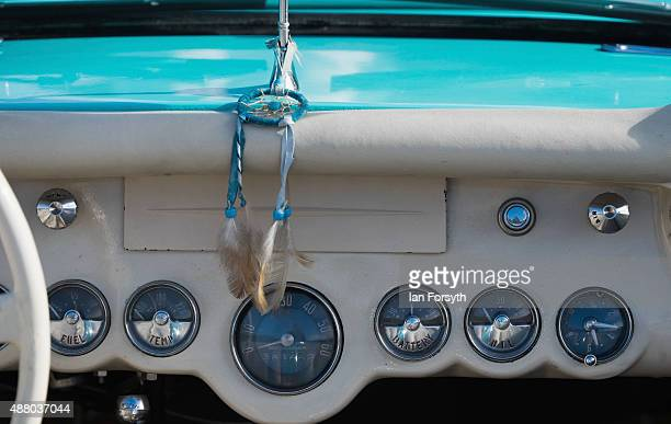 The dashboard of a classic Chevrolet Corvette motor car can be seen during the annual historic hill climb on September 13 2015 in SaltburnbytheSea...