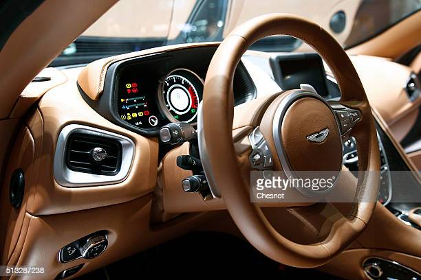 The dashboard of an Aston Martin DB 11 model is seen during the second press day of the 86th Geneva International Motor Show on March 2 2016 in...