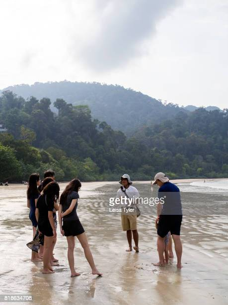 The Datai resort's naturalist taking guests on a beach tour of Datai Bay on the Malaysian island of Langkawi The first place to rise from the ocean...