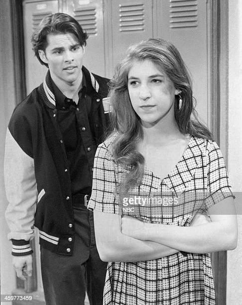 BLOSSOM 'The Date' Episode 517 Pictured James Marsden as Josh Mayim Bialik as Blossom Russo