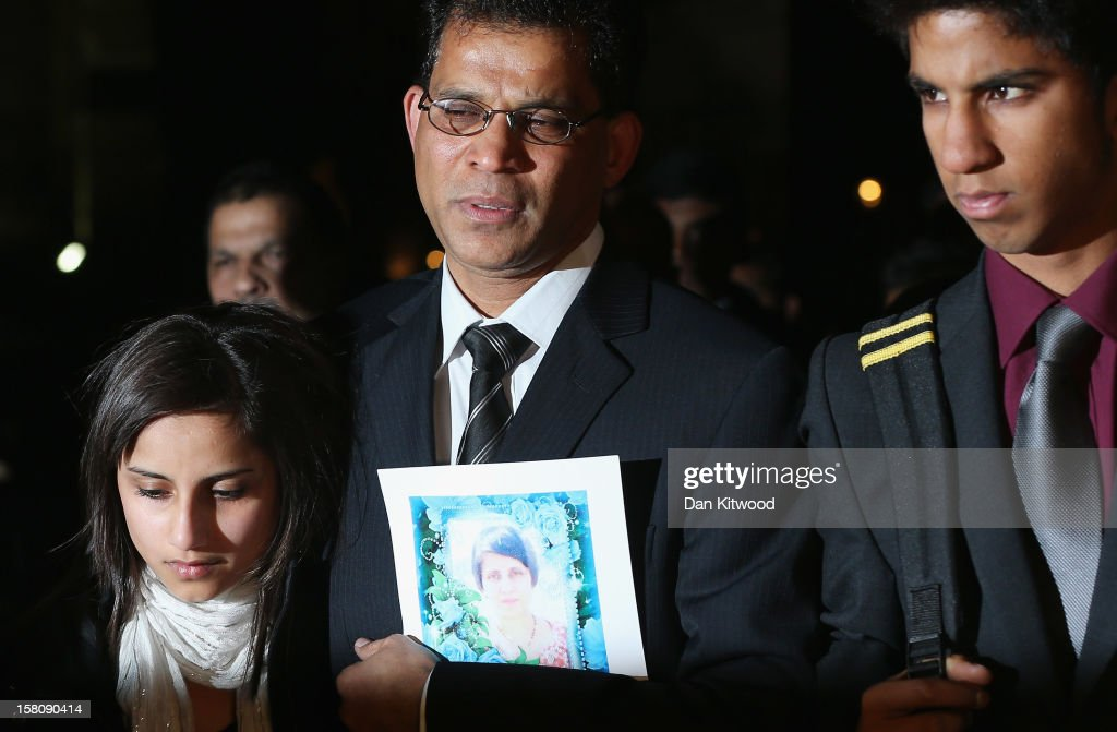 The daughter Lisha, husband Ben Barboza and son Junal of nurse Jacinta Saldanha arrive at the Houses of Parliament ahead of a meeting with MP Keith Vaz on December 10, 2012 in London, England. Jacintha Saldanha was one of two hospital staff who were responsible for inadvertently revealing details of the pregnant duchess's medical condition to two Australian DJs, and was subsequently found dead.