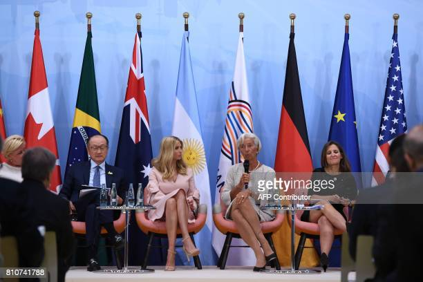 The daughter of the US President Ivanka Trump looks on as the Managing Director of the International Monetary Fund Christine Lagarde speaks during...