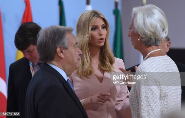 The daughter of the US President Ivanka Trump talks with the Managing Director of the International Monetary Fund Christine Lagarde and...