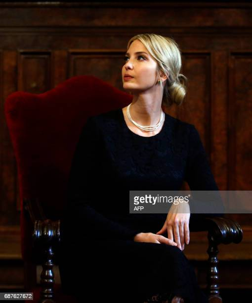 TOPSHOT The daughter of US President Donald Trump gestures during a visit at the Community of Sant'Egidio a Vaticanaffiliated NGO where she met...