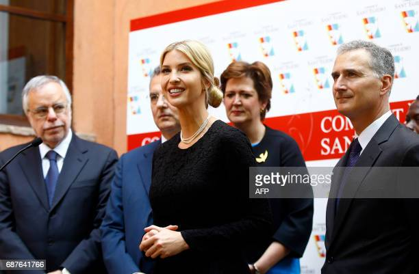 The daughter of US President Donald Trump Ivanka Trump addresses journalists at the end of her visit to the Vaticanaffiliated NGO the Community of...