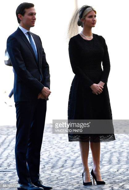The daughter of US President Donald Trump Ivanka Trump and White House senior advisor Jared Kushner arrive at the Vatican on May 24 2017 US President...