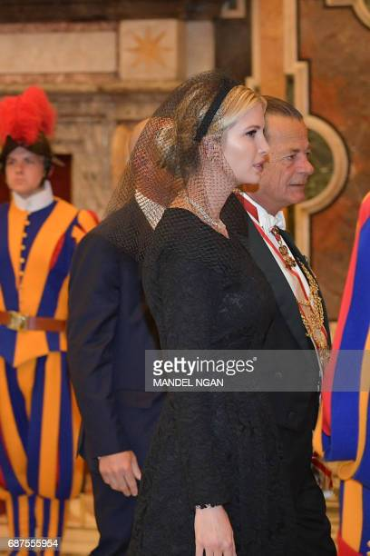 The daughter of US President Donald Trump Ivanka Trump arrives at the Vatican on May 24 2017 US President Donald Trump met Pope Francis at the...