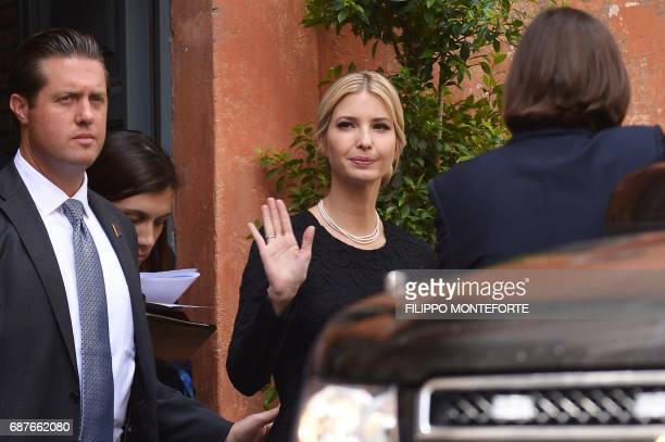 The daughter of US President Donald Trump Ivanka Trump leaves after a visit to the Community of Sant'Egidio a Vaticanaffiliated NGO on May 24 2017 in...