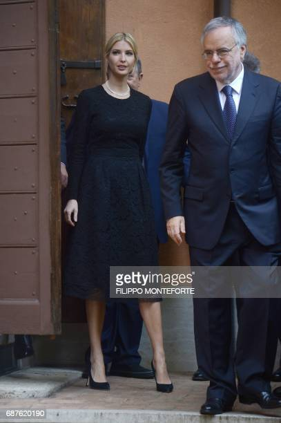 The daughter of US President Donald Trump Ivanka Trump walks along with Andrea Riccardi founder of the Community of Sant'Egidio a Vaticanaffiliated...