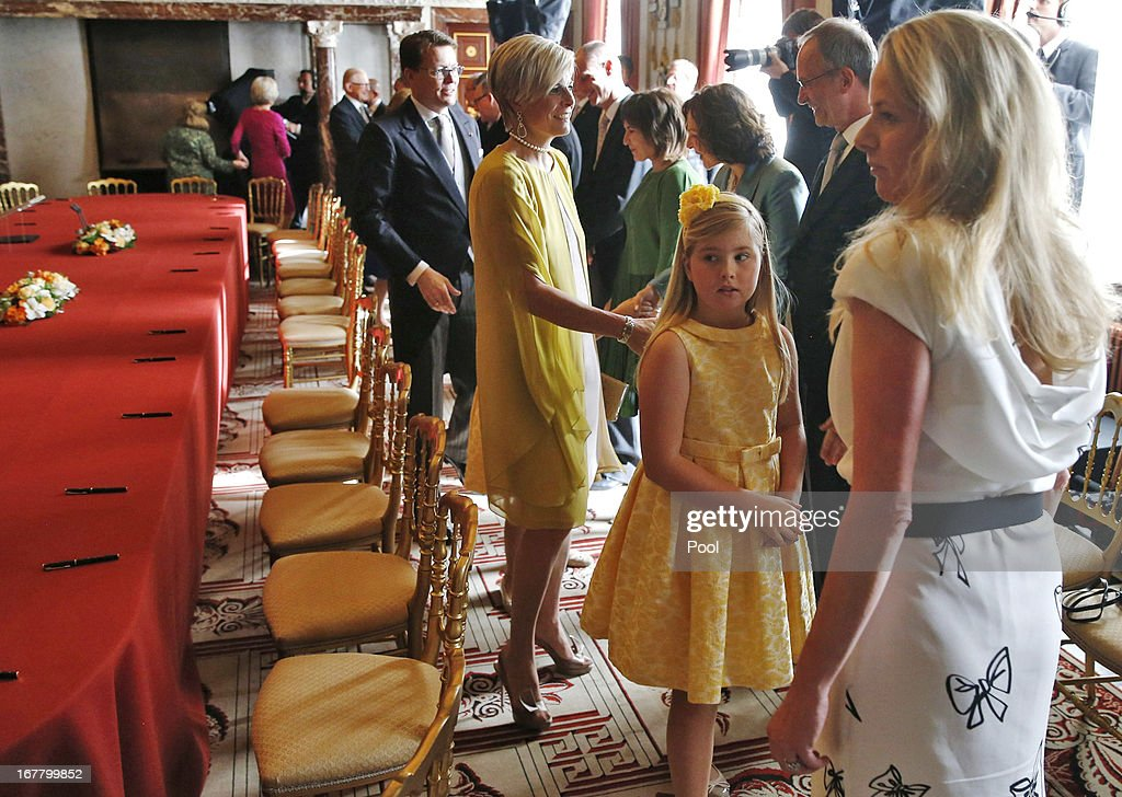 The daughters of Prince Willem-Alexander of the Netherlands and wife Princess Maxima of the Netherlands Catharina Amalia attends the abdication ceremony of their grandmother Queen Beatrix of the Netherlands in the Moseszaal at the Royal Palace on April 30, 2013 in Amsterdam. Queen Beatrix of the Netherlands is abdicating the throne after a 33 year reign and hands the throne to her son Prince Willem-Alexander who will be sworn in later at the Nieuwe Kerk ahead of a joint session of parliament.