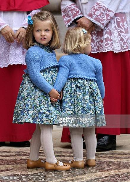 The daughters of Spanish Crown Prince Felipe and Princess Letizia Leonor and Sofia pose before the traditional Easter Mass of Resurection in Palma de...
