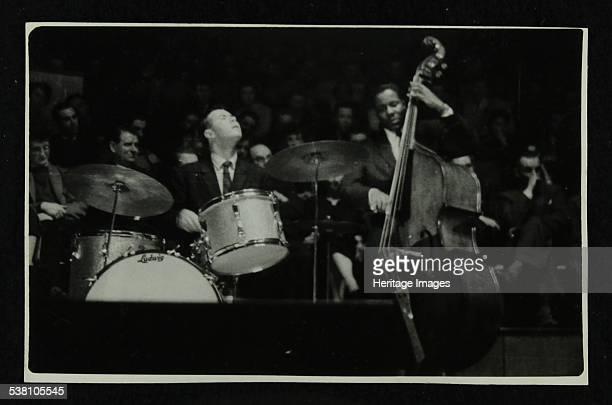 The Dave Brubeck Quartet in concert at Colston Hall Bristol 1958 Joe Morello and Eugene Wright Artist Denis Williams