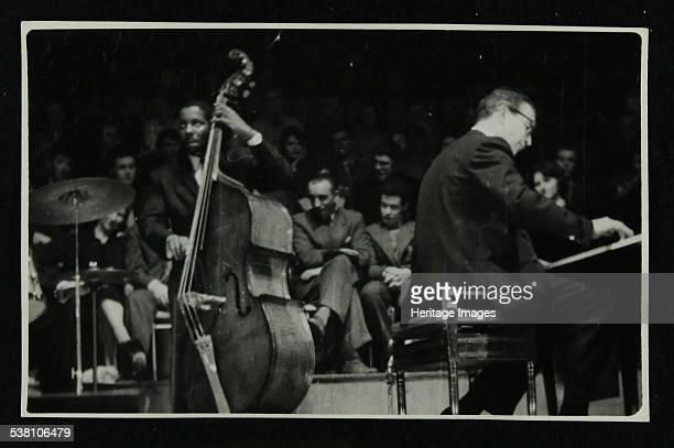 The Dave Brubeck Quartet in concert at Colston Hall Bristol 1958 Eugene Wright and Dave Brubeck Artist Denis Williams